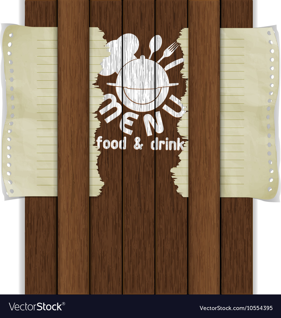 Template frame restaurant menu wooden boards white