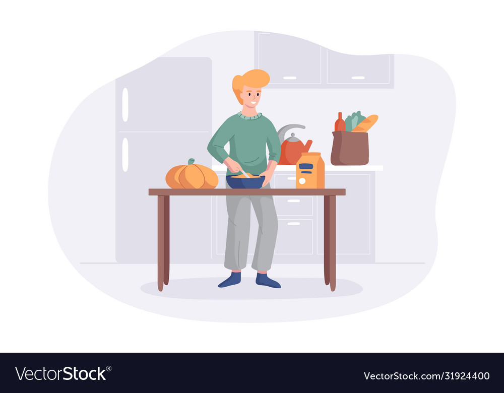 Adorable man cooking on kitchen table cartoon