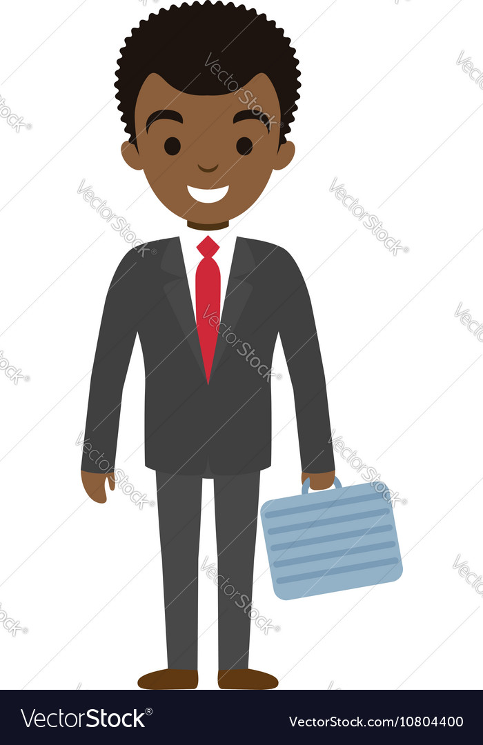 Afro american businessman character with case flat