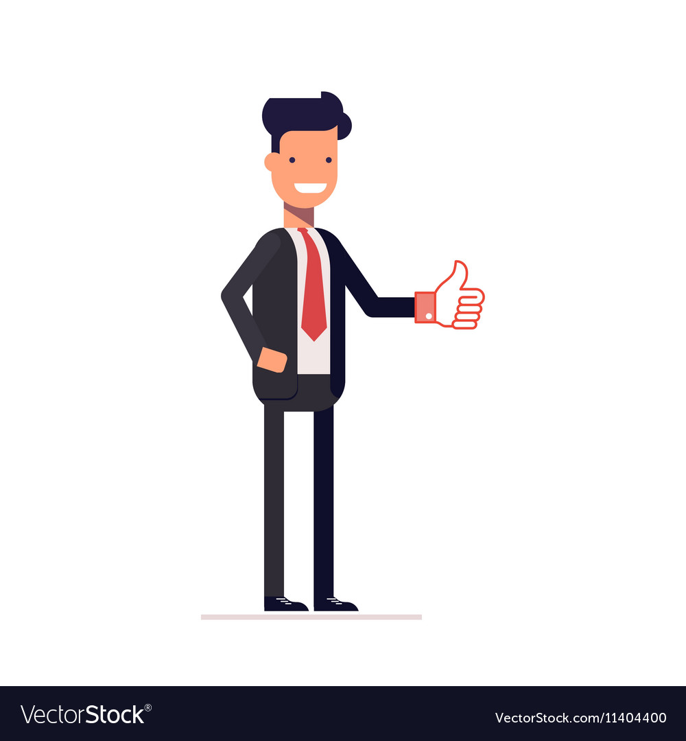 Thumbs up business. Businessman or manager showing