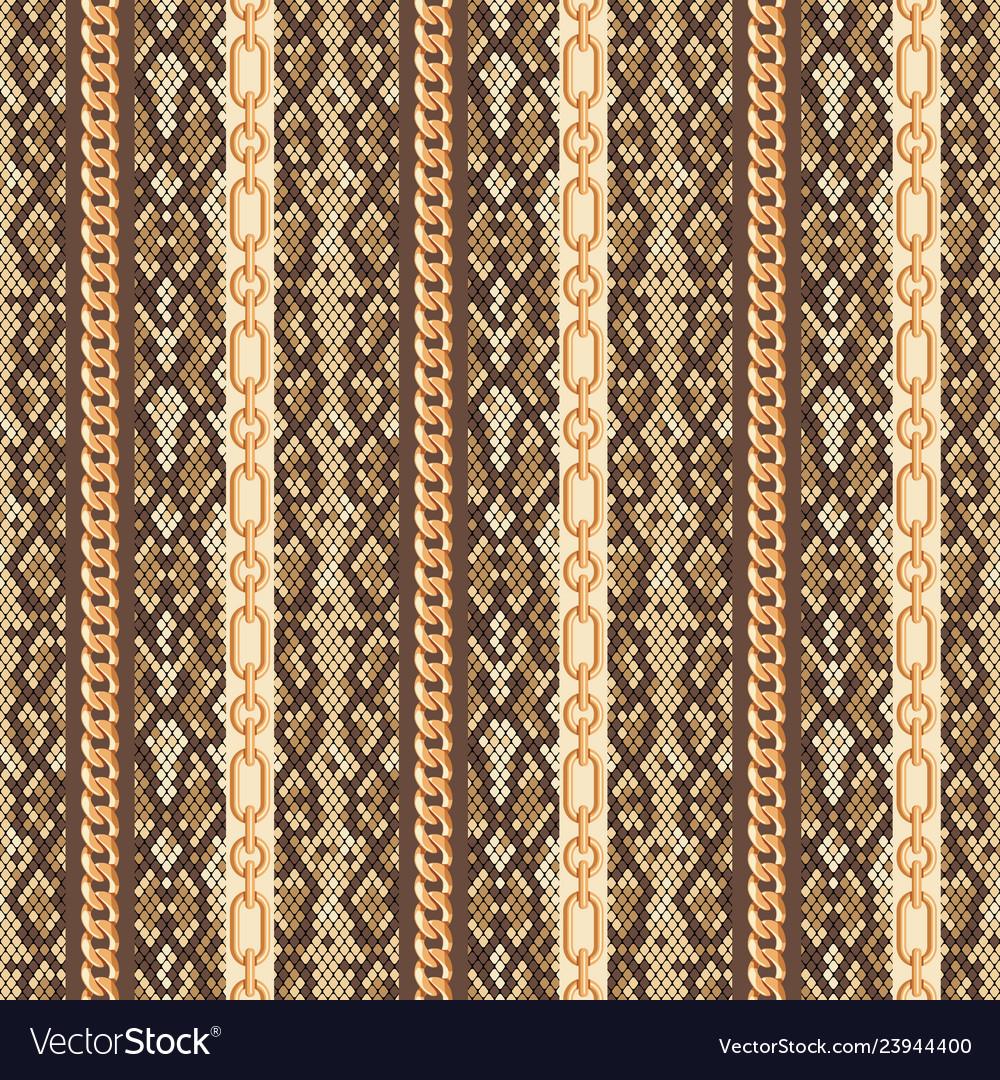 Gold chains snake skin seamless pattern