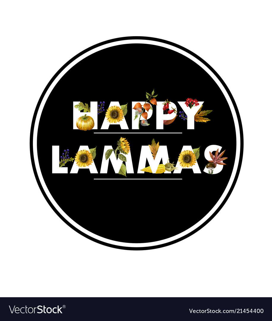 Greeting banner lammas with autumn leaves