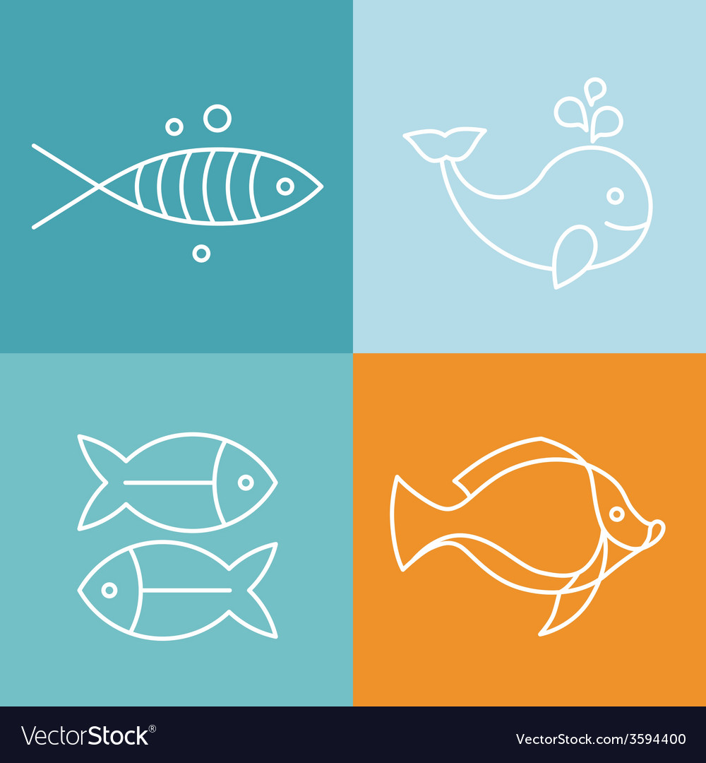 Line fish logos and signs