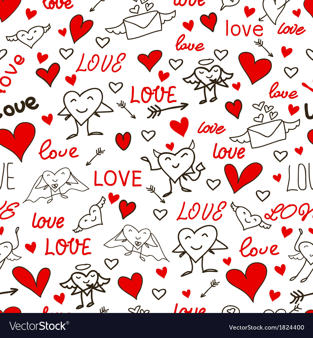 seamless love and heart background royalty free vector image