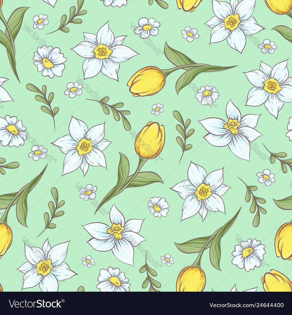 Seamless pattern daffodils tulips hand drawing