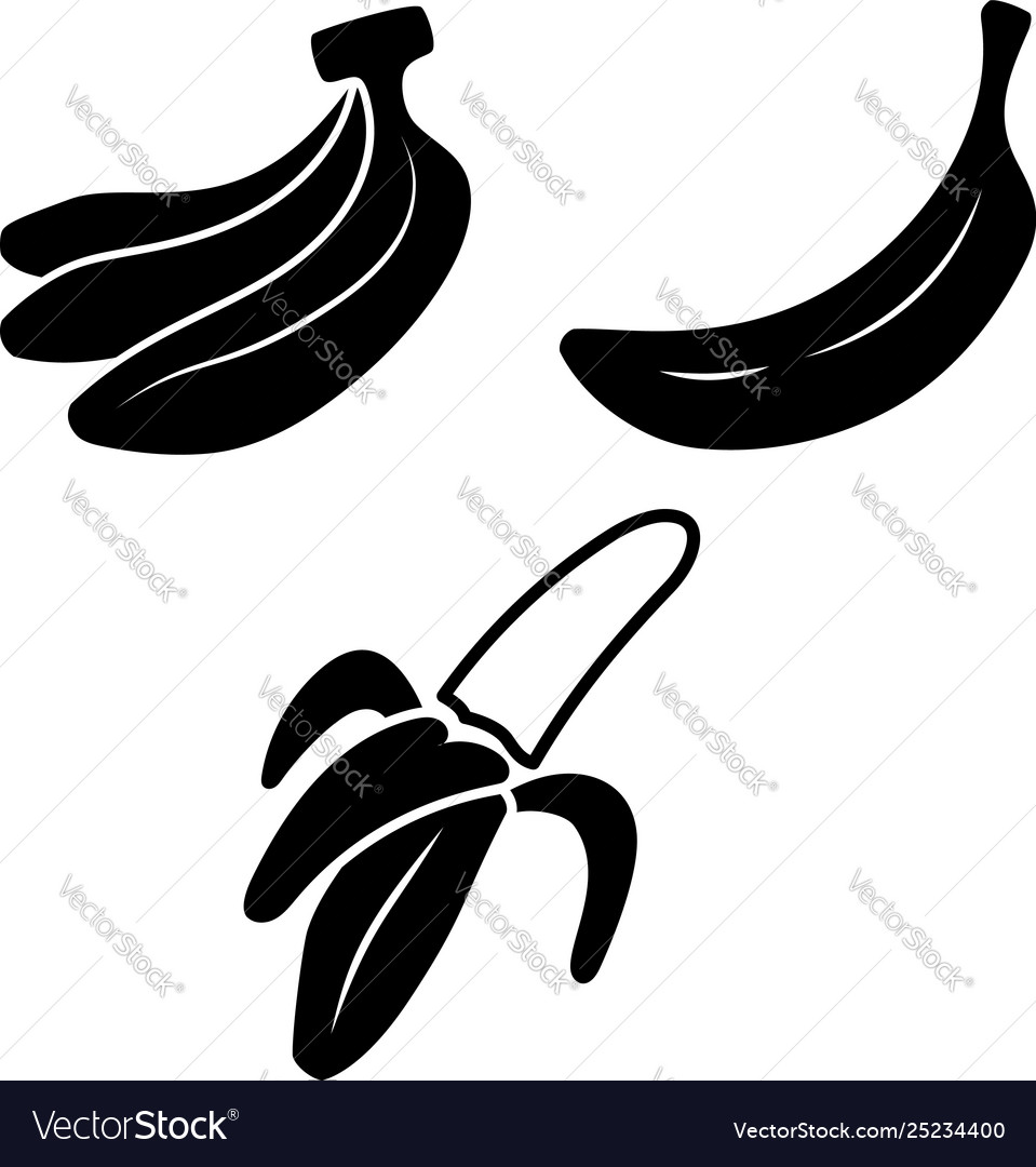 Set icons banana design element for poster