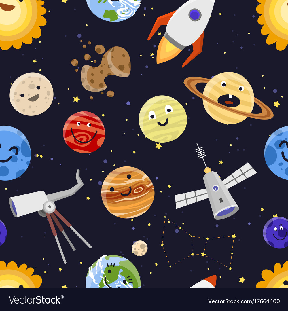 Space planets solar system astrology seamless