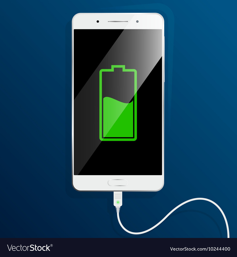 White smartphone is charging The cable connected