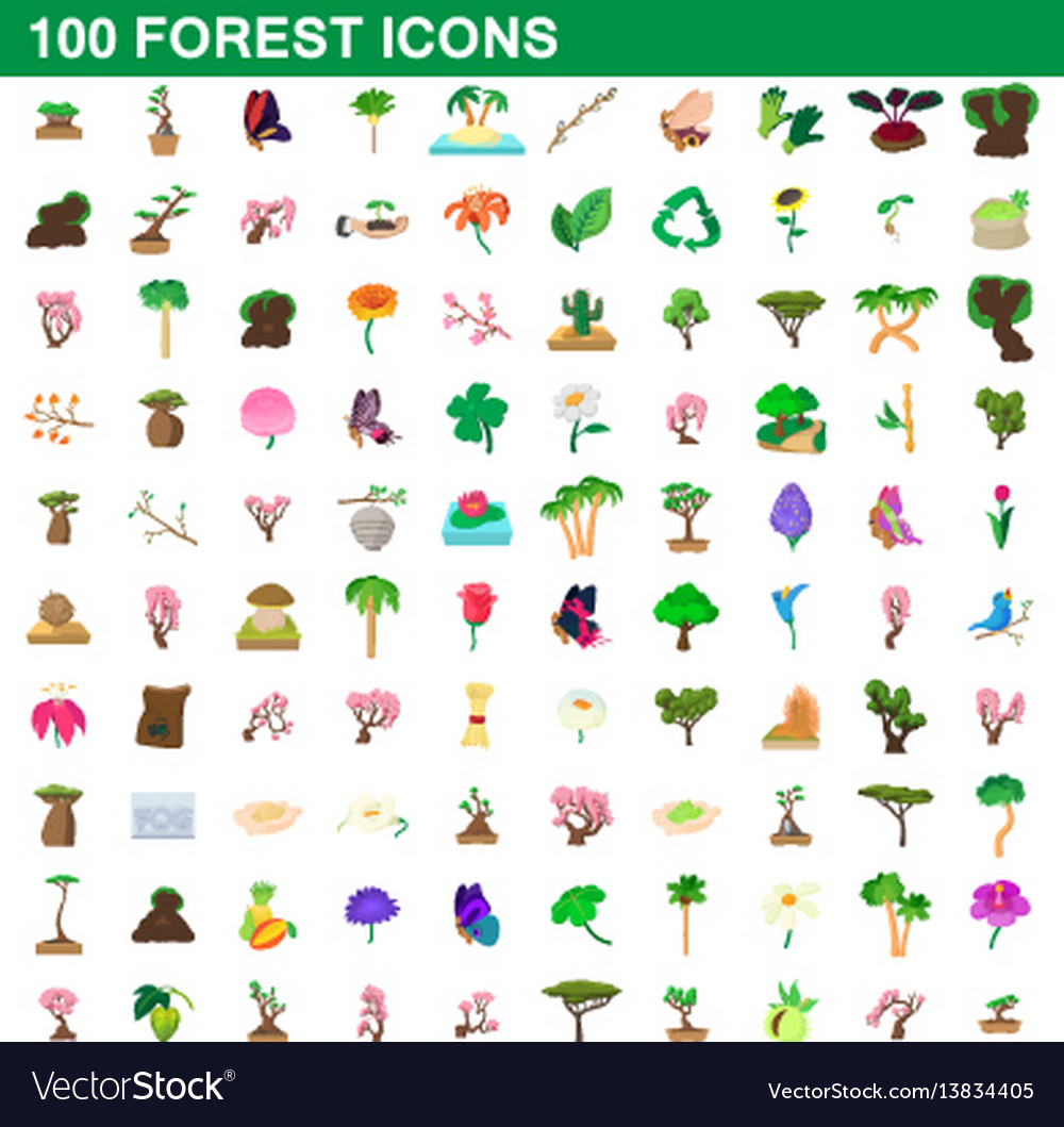 100 forest icons set cartoon style