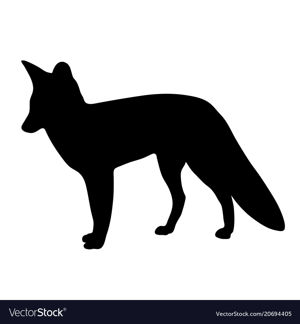 Black silhouette of fox on white background of