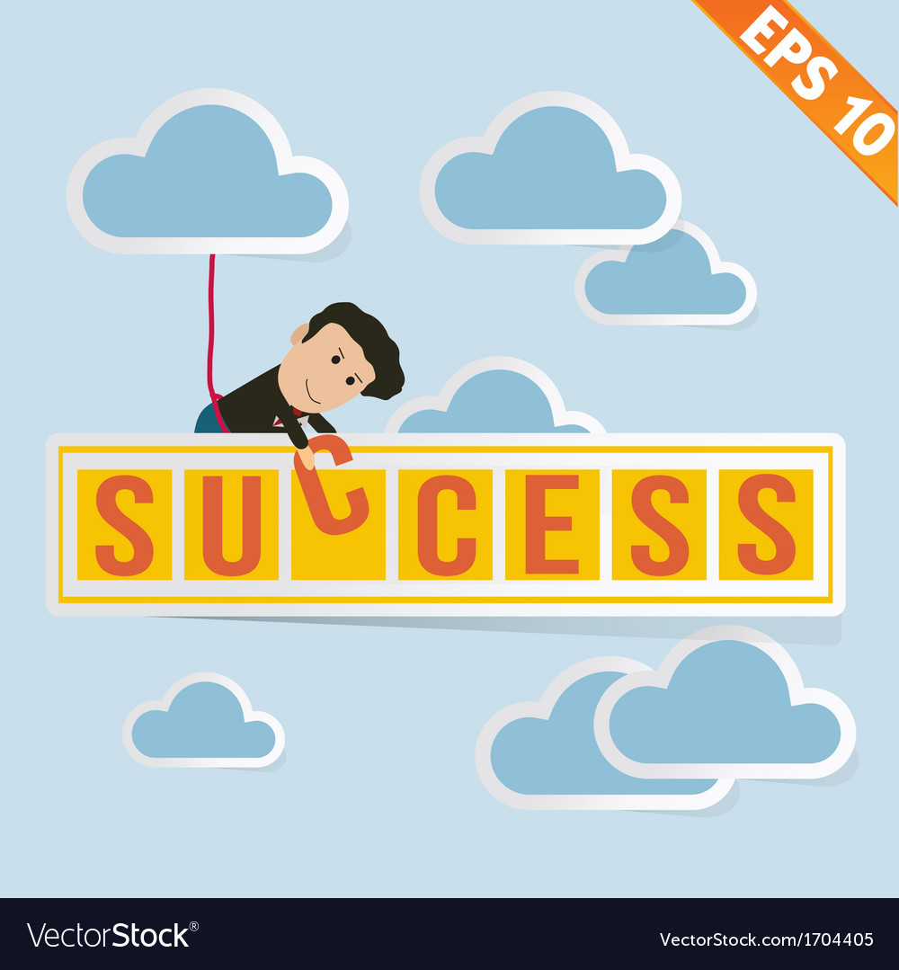 Cartoon Businessman with success billboard