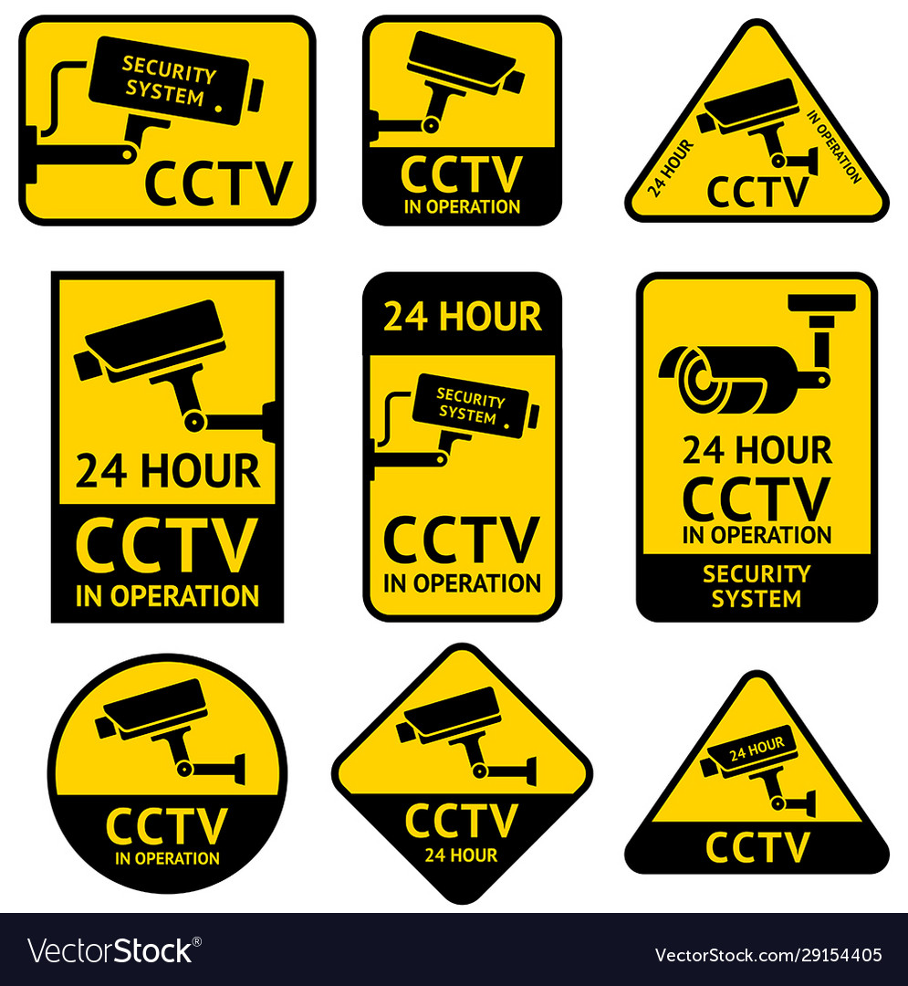 CCTV WARNING SIGN STICKER 24 HOUR VIDEO SURVEILLANCE BRAND NEW SET OF THREE