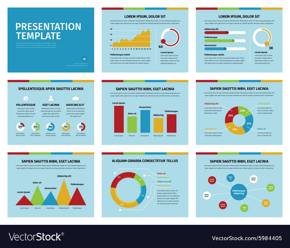 Colorful graphs and presentation graphics on blue