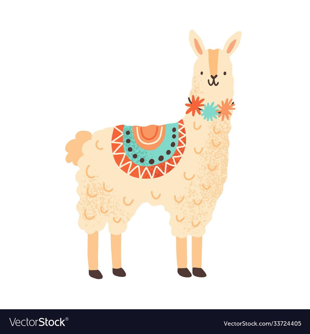 Cute childish lama character adorable funny