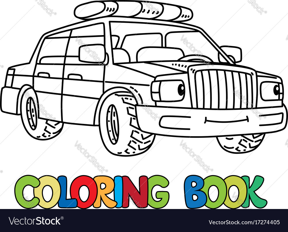 Funny small police car with eyes coloring book Vector Image