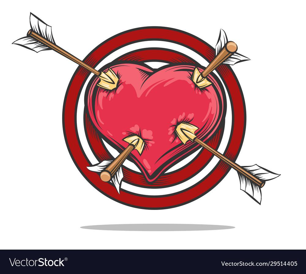 Heart target pierced arrows