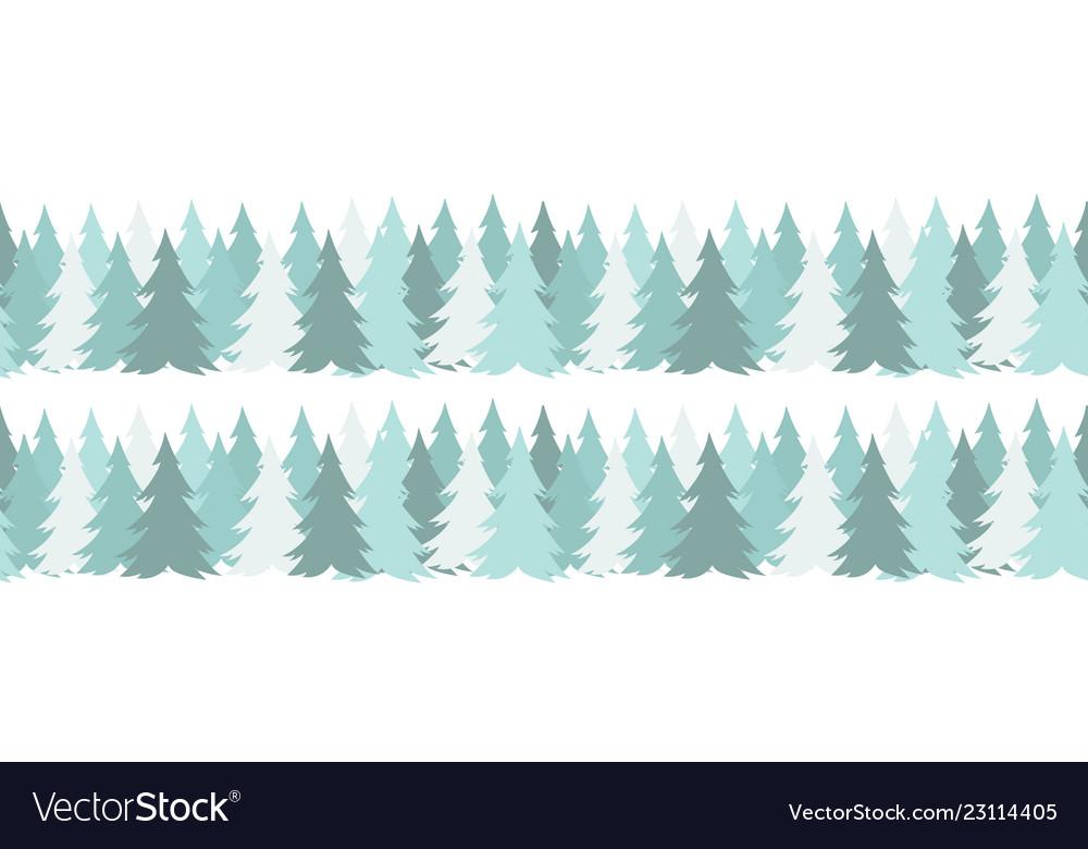 Horizontal seamless border with christmas green
