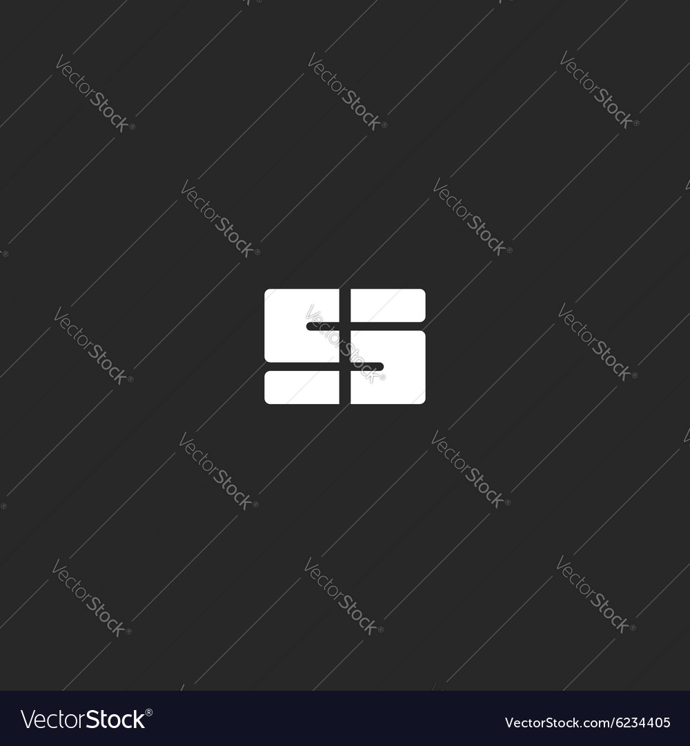 Letter S logo or 5 symbol black and white abstract