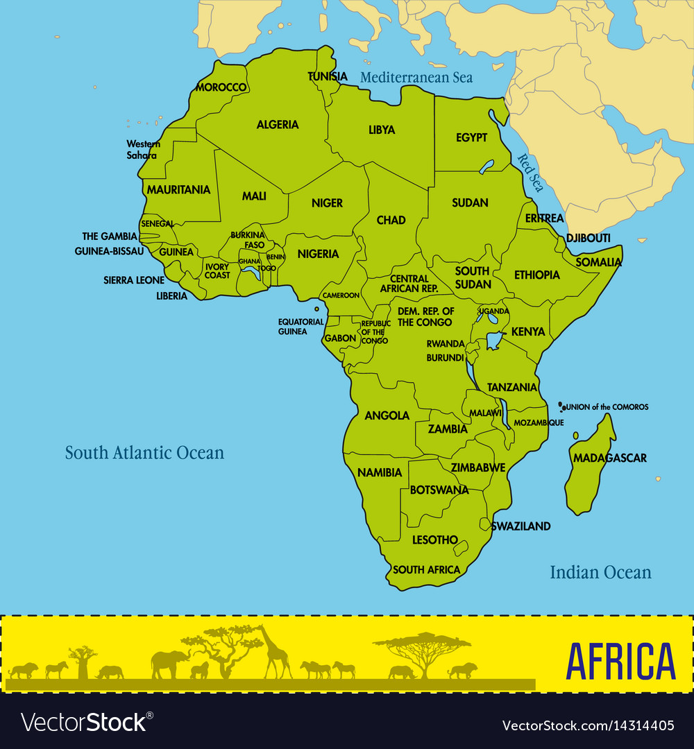 Map Of Africa With All Countries Royalty Free Vector Image