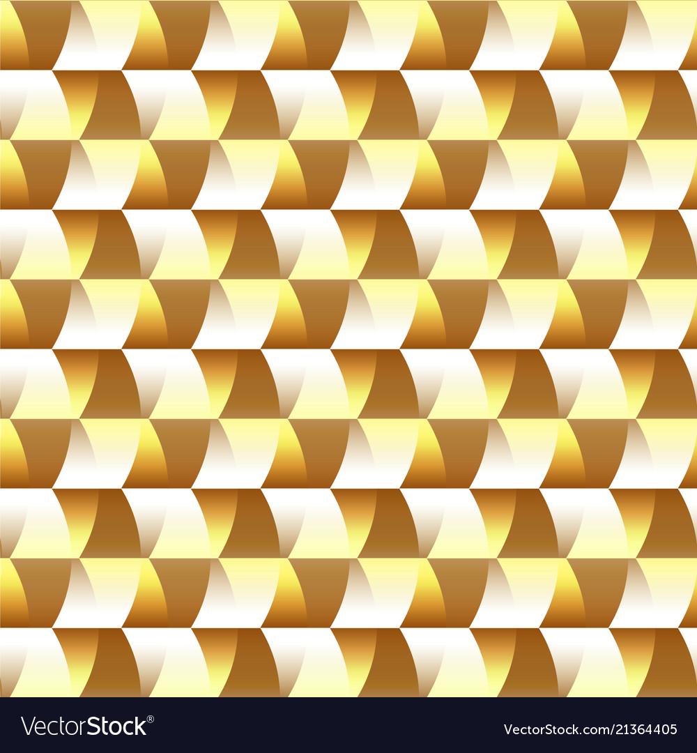 Mosaic golden geometric seamless pattern