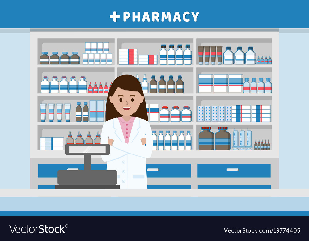 Pharmacy Interior With Drug Shelves And Cashier Vector Image