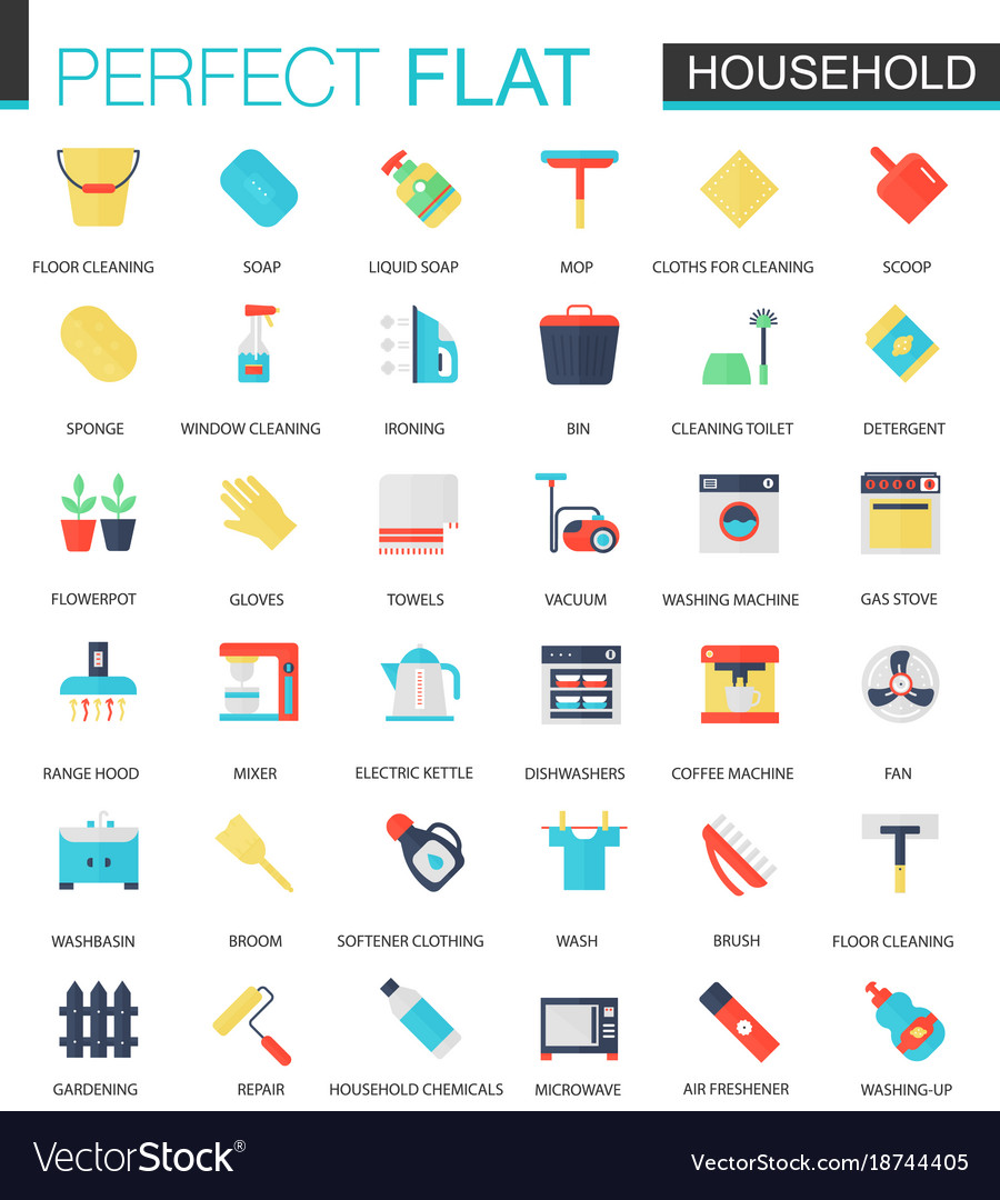 Set of flat household icons