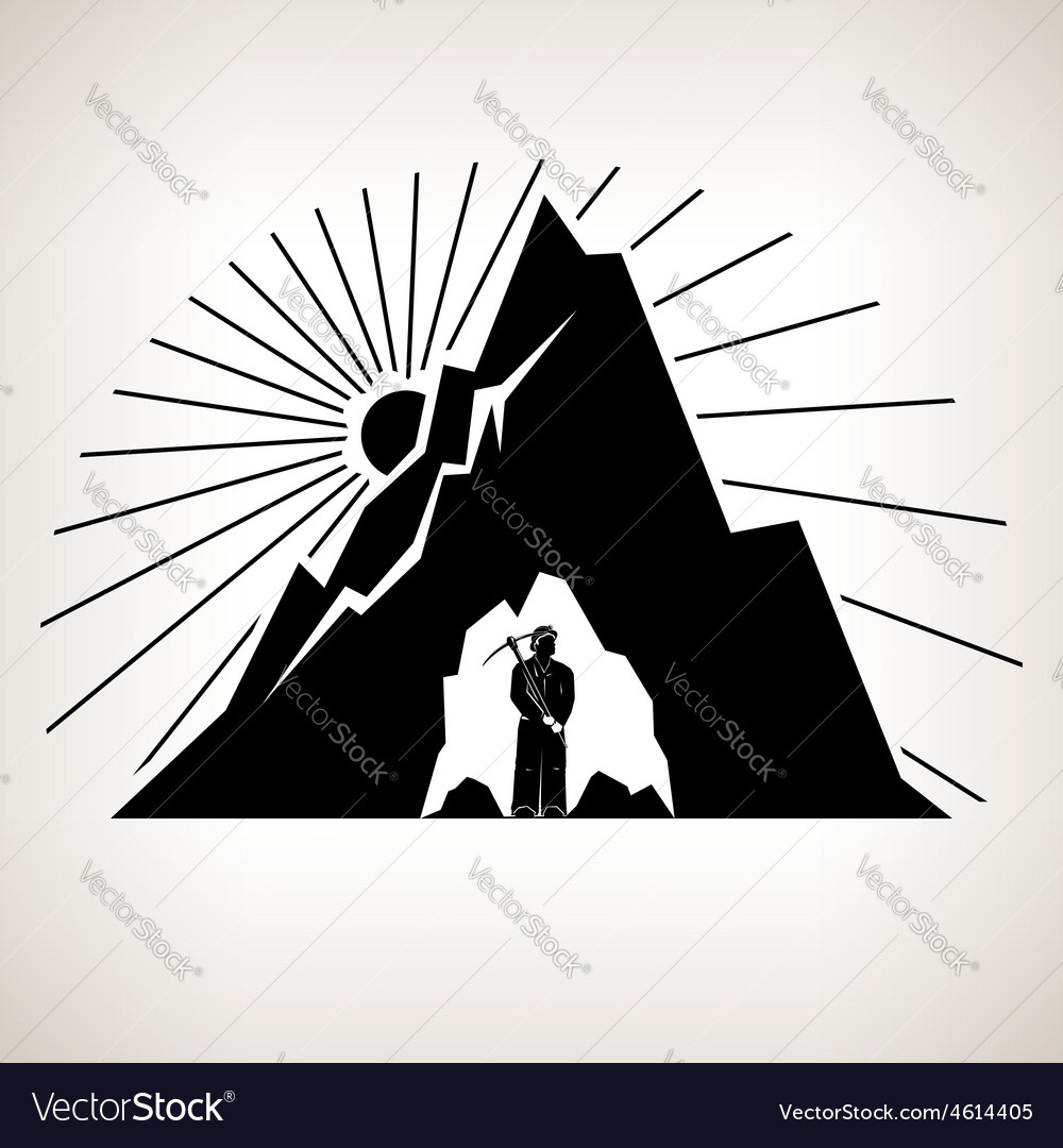 Silhouette Miner and Mountain vector image