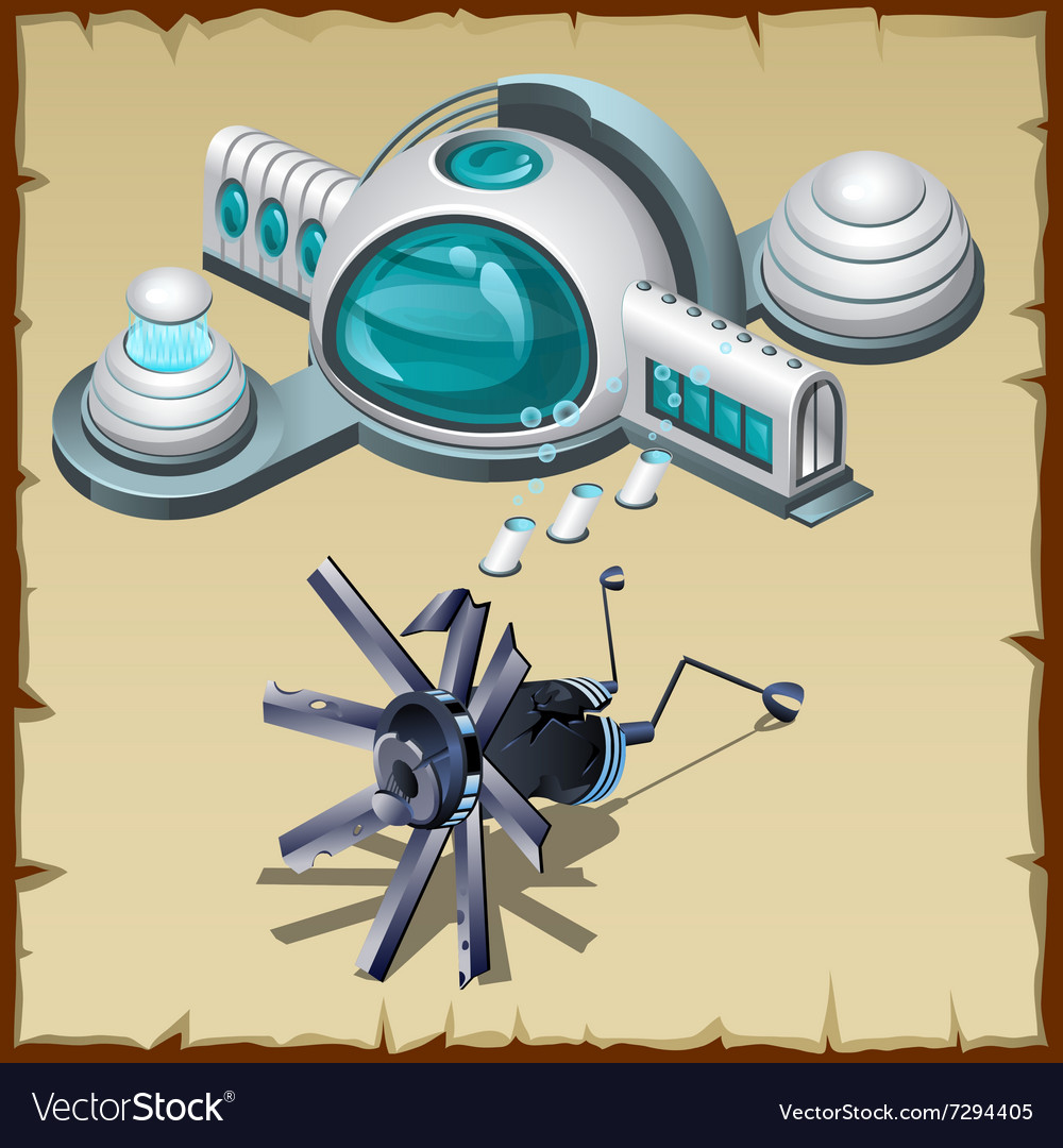 Underwater research station detail and robot