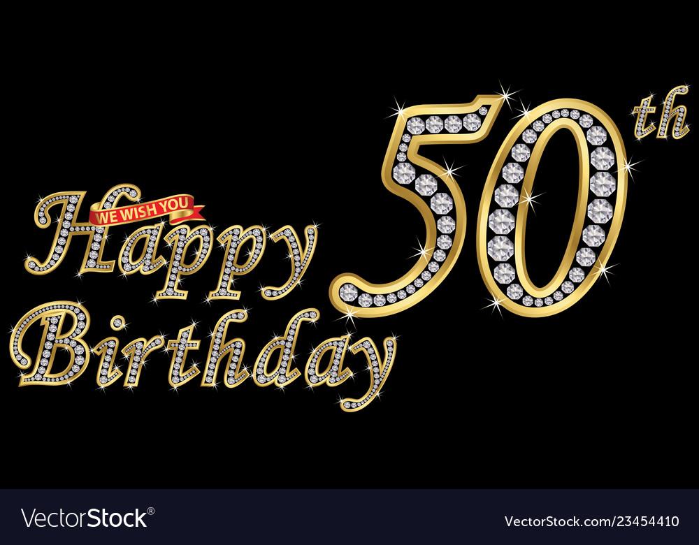 50 Years Happy Birthday Golden Sign With Diamonds Vector Image