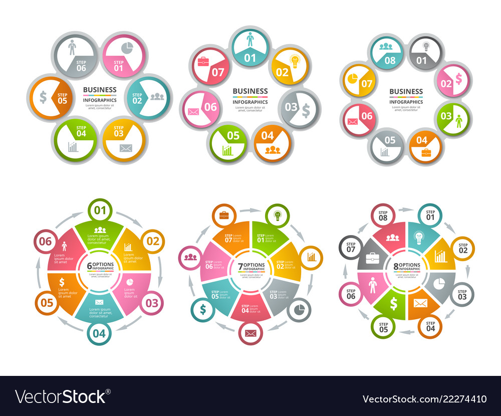 Circle shapes for infographics business radial