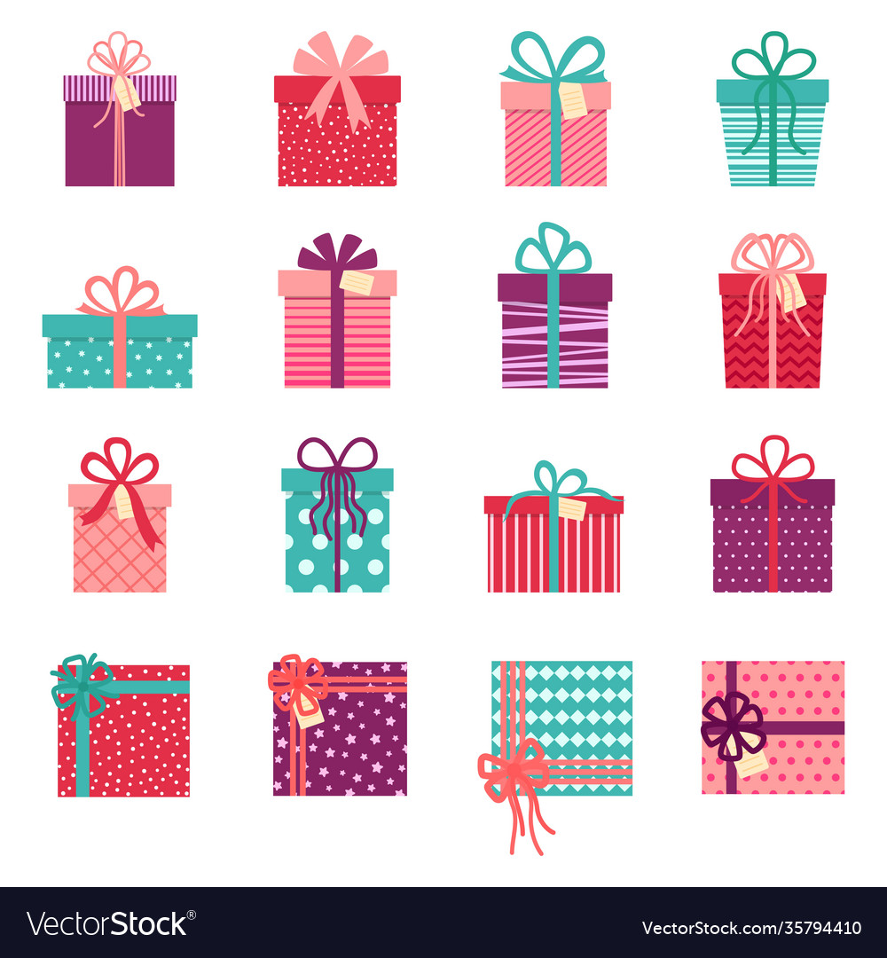 Collection gift boxes on white background