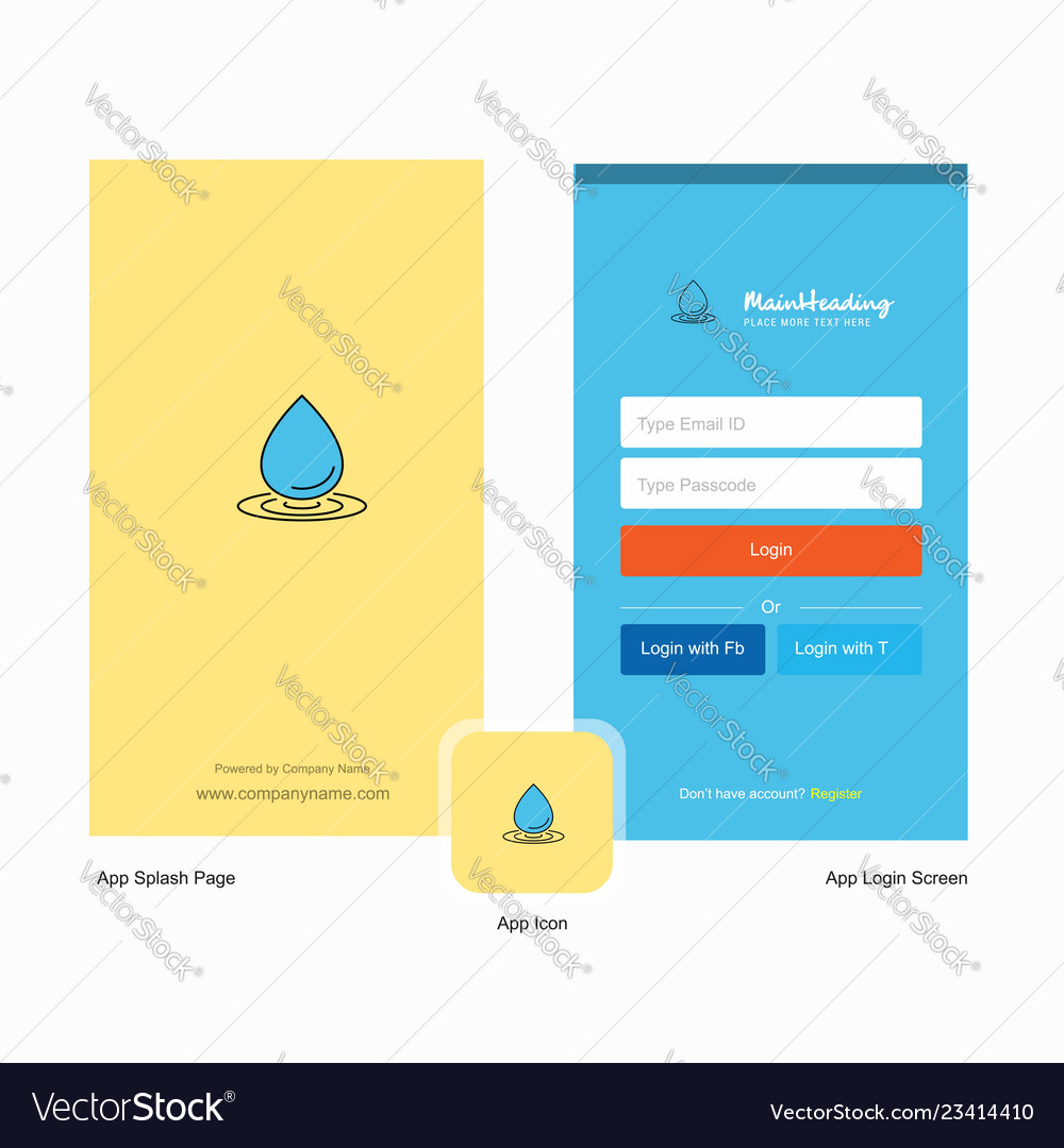 Company water drop splash screen and login page
