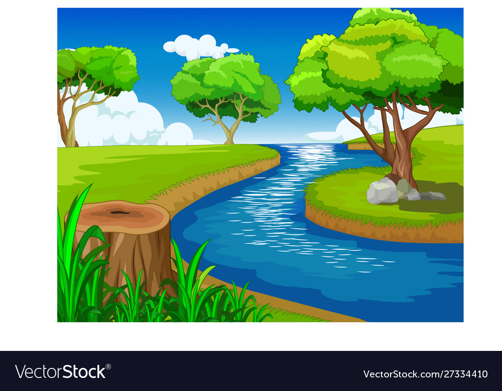 Cool Grass Hill With River Landscape View Cartoon Vector Image