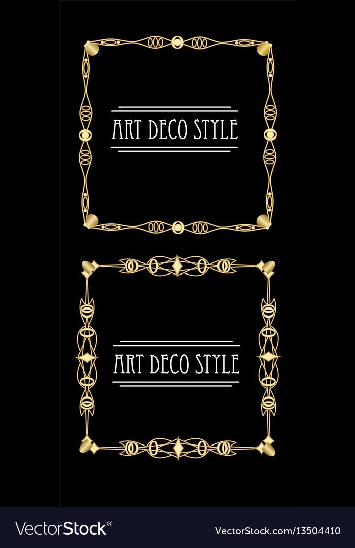 Elegant antiquarian golden square frames in art vector image