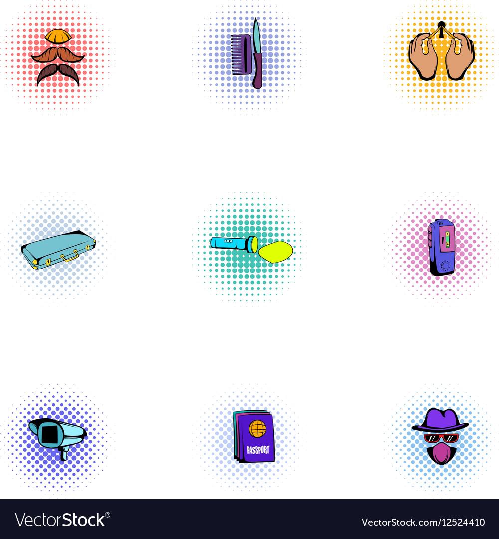 Inquest icons set pop-art style vector image