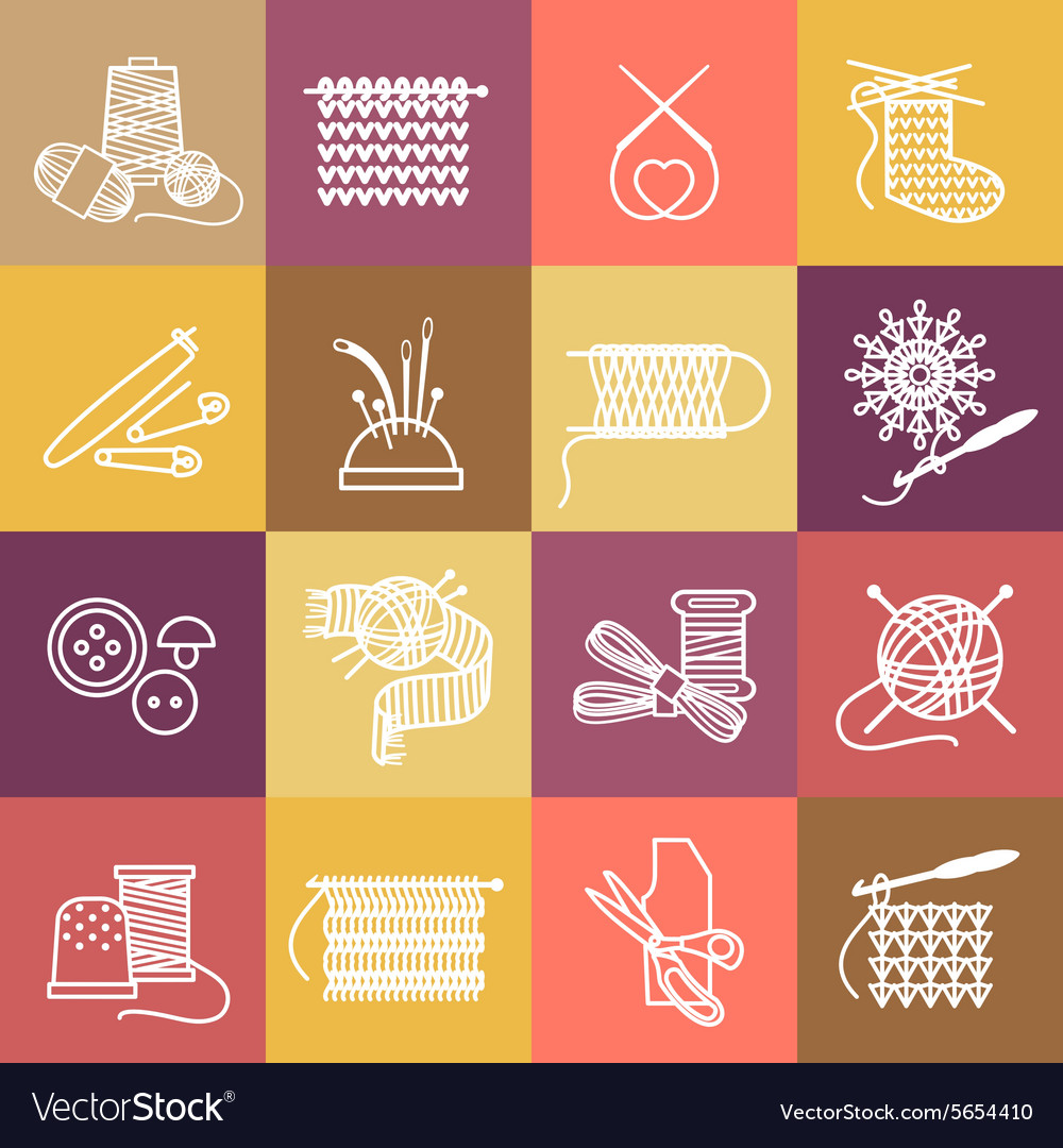 Knitting icons set vector image