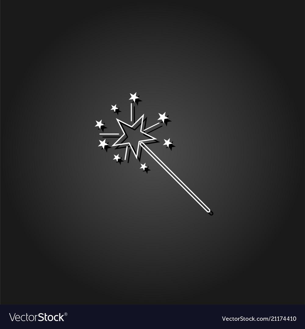 Magic wand icon flat