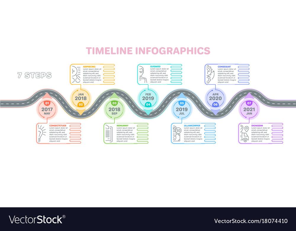 Navigation map infographics 7 steps timeline