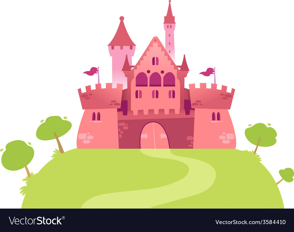Pink cartoon castle