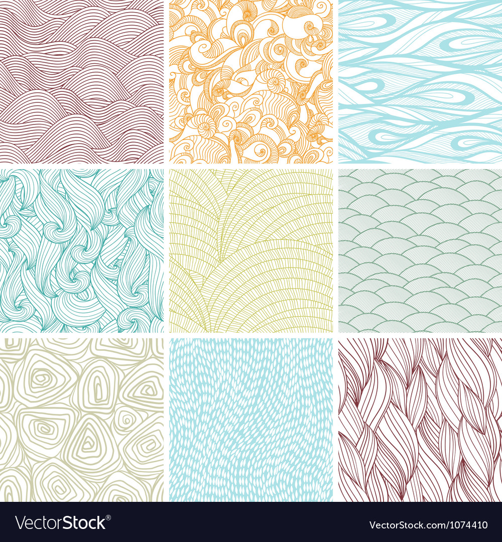 Retro Seamless Patterns Set vector image