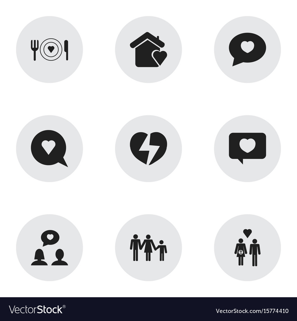 Set of 9 editable love icons includes symbols
