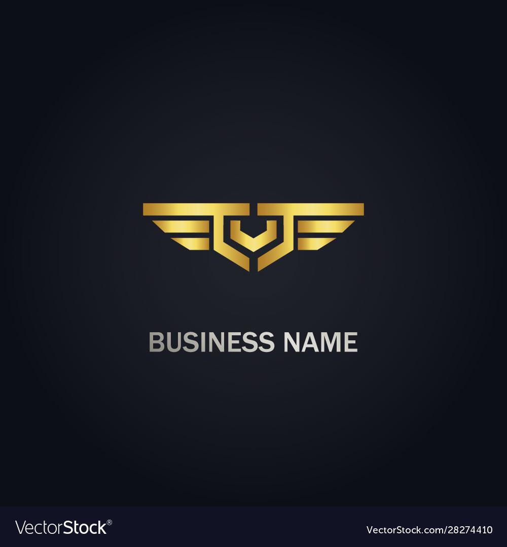 V initial emblem wing company logo