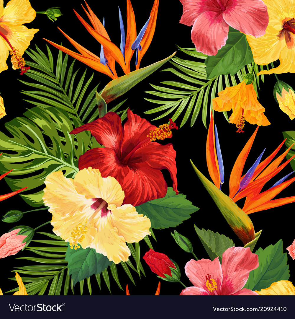 Watercolor tropical flowers seamless ...