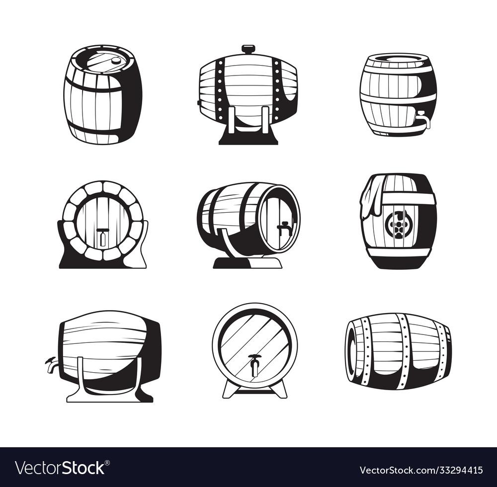 Barrels silhouettes wooden barrels symbols