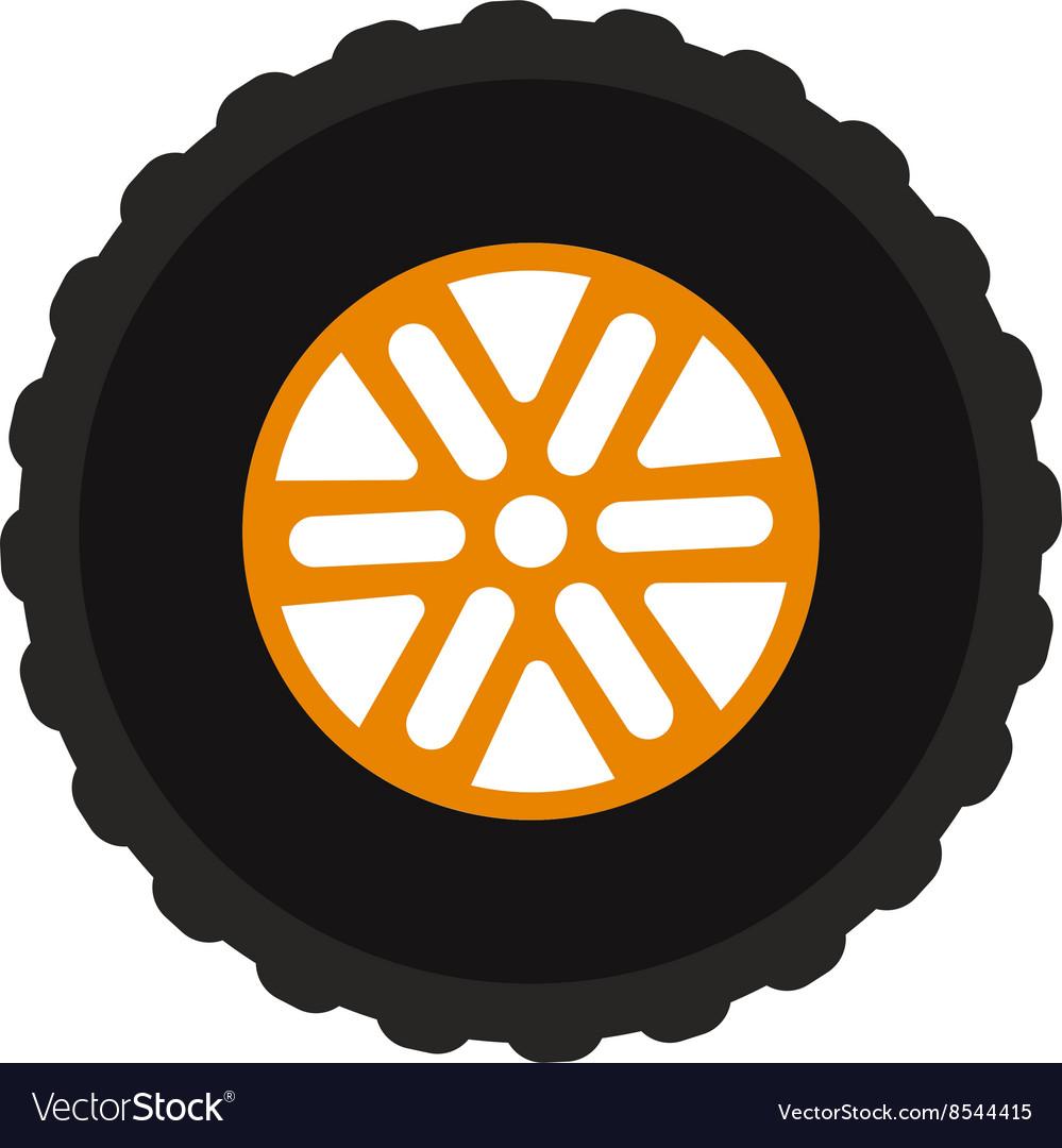Car wheel cartoon flat on