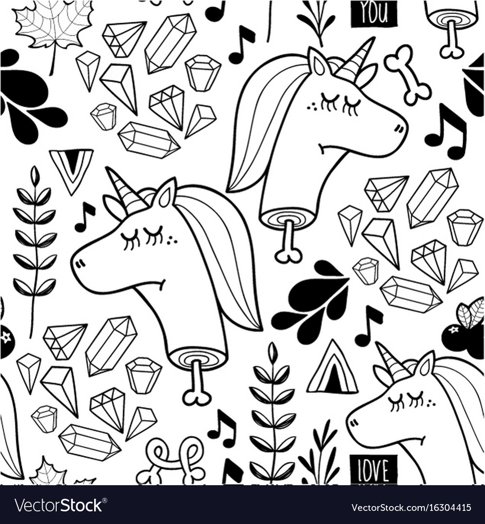 Endless background with doodle head of unicorn