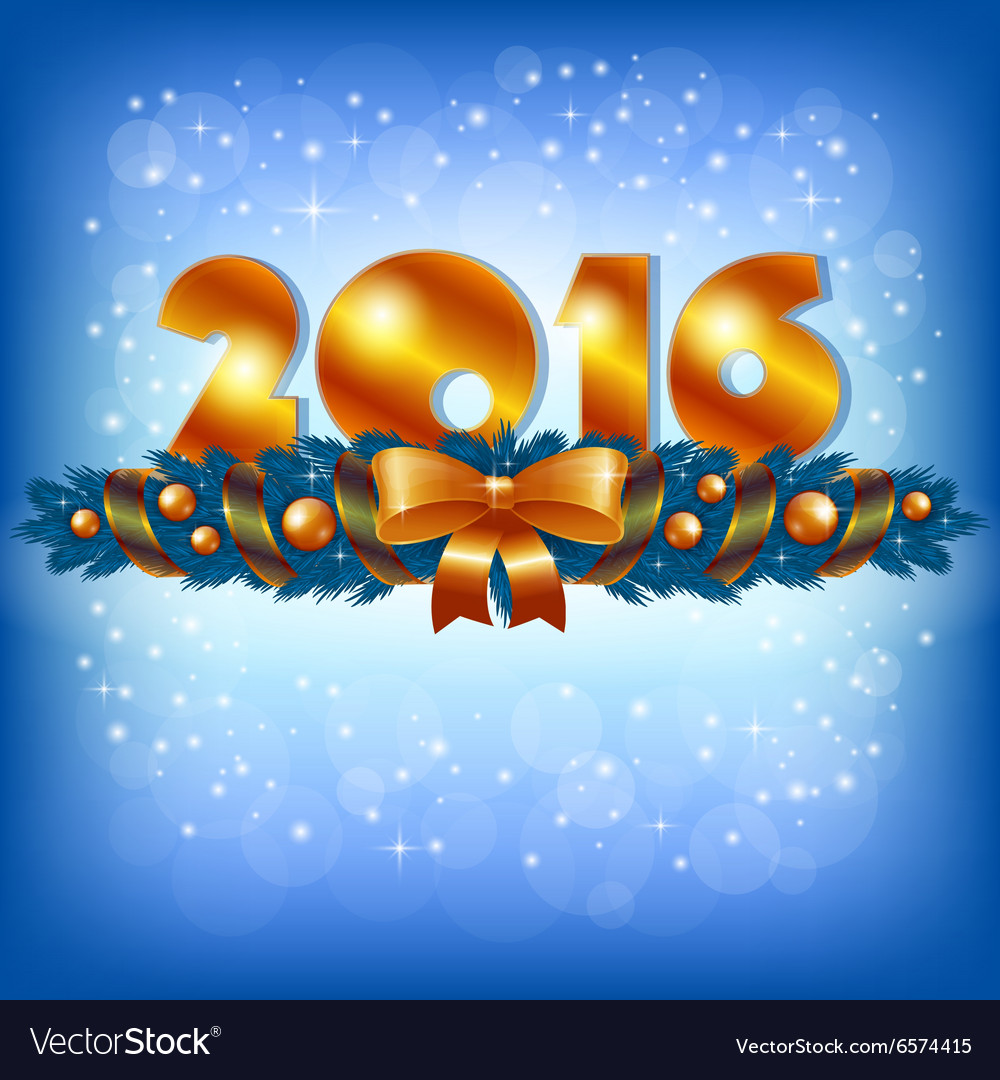 Golden New Year 2016 and Xmas decoration