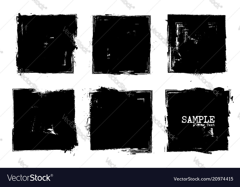 Grunge style set of square shapes