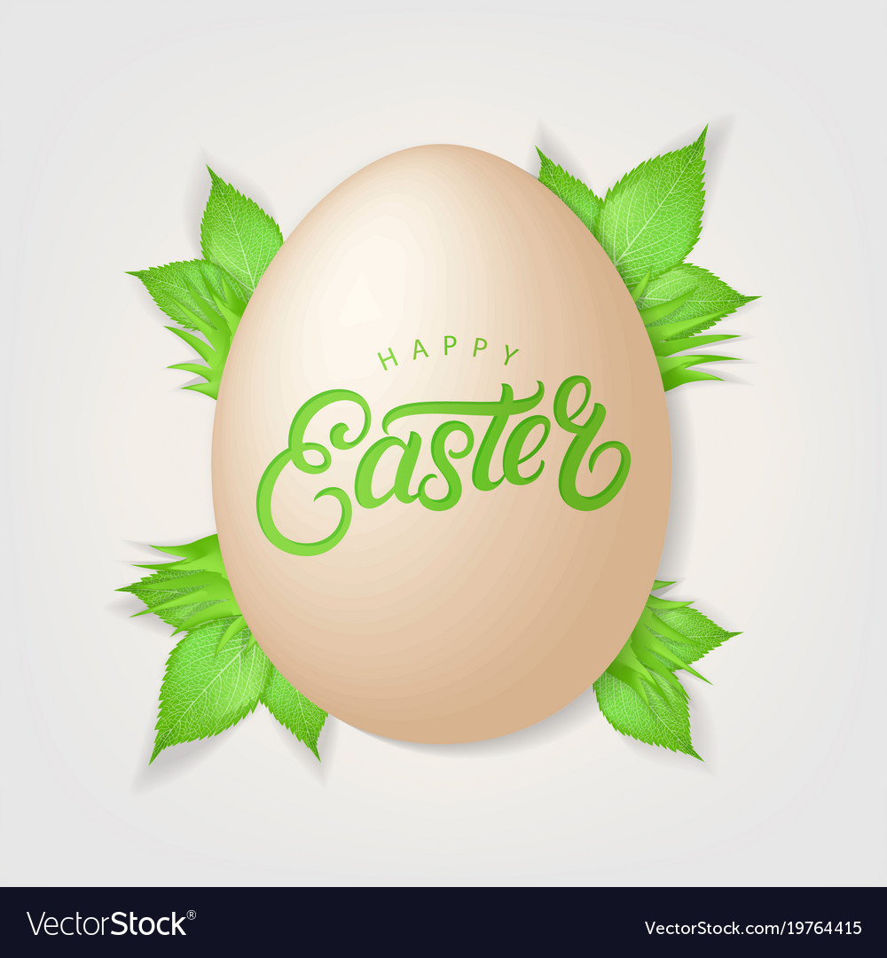 Happy easter hand written lettering vector image