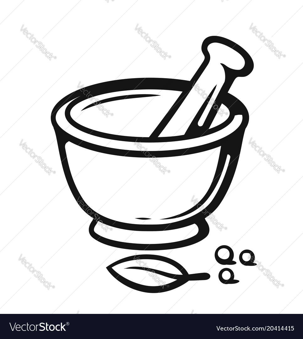 Mortar and pestle with spices outline style